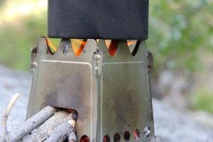 Emberlit Stainless steel Stove in use with wood burning
