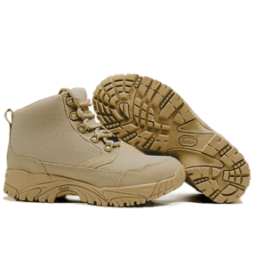 """Work Boots tan 6"""" sole and side view Altai gear"""