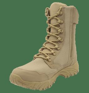 "Zip up combat boots 8"" tan inner toe with zipper altai Gear"
