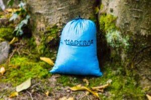 Azul Madera Hammocks Blue folded up front